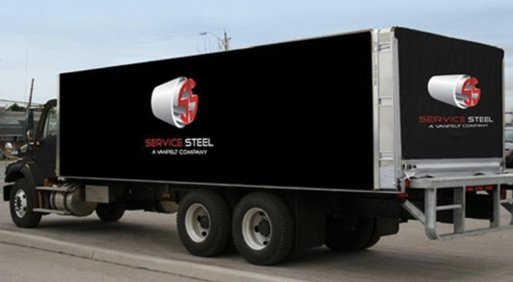 shipping via service steel tractor trailer